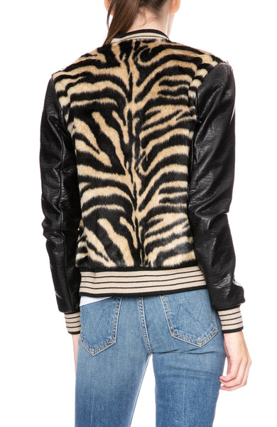 Mother Faux Fur Varsity Jacket in Sleeping Tiger at Ron Herman