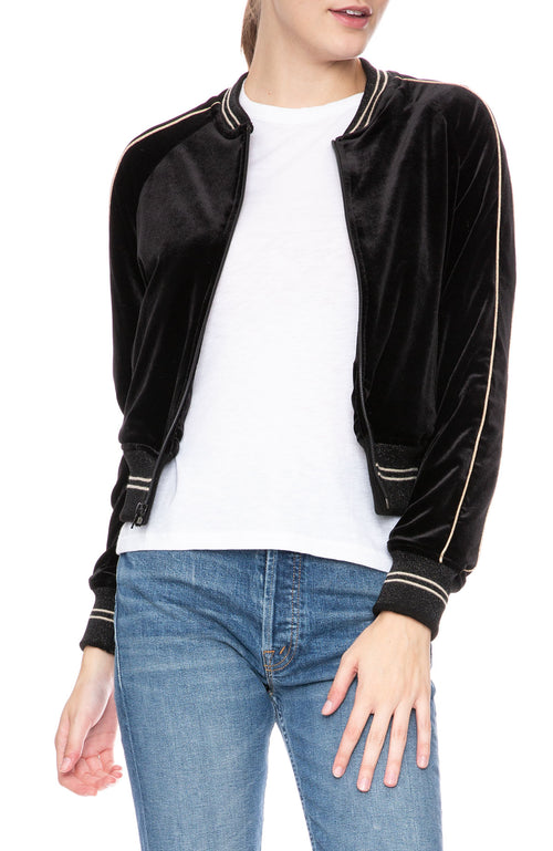 Mother Runner Letterman Jacket in Black Metallic at Ron Herman