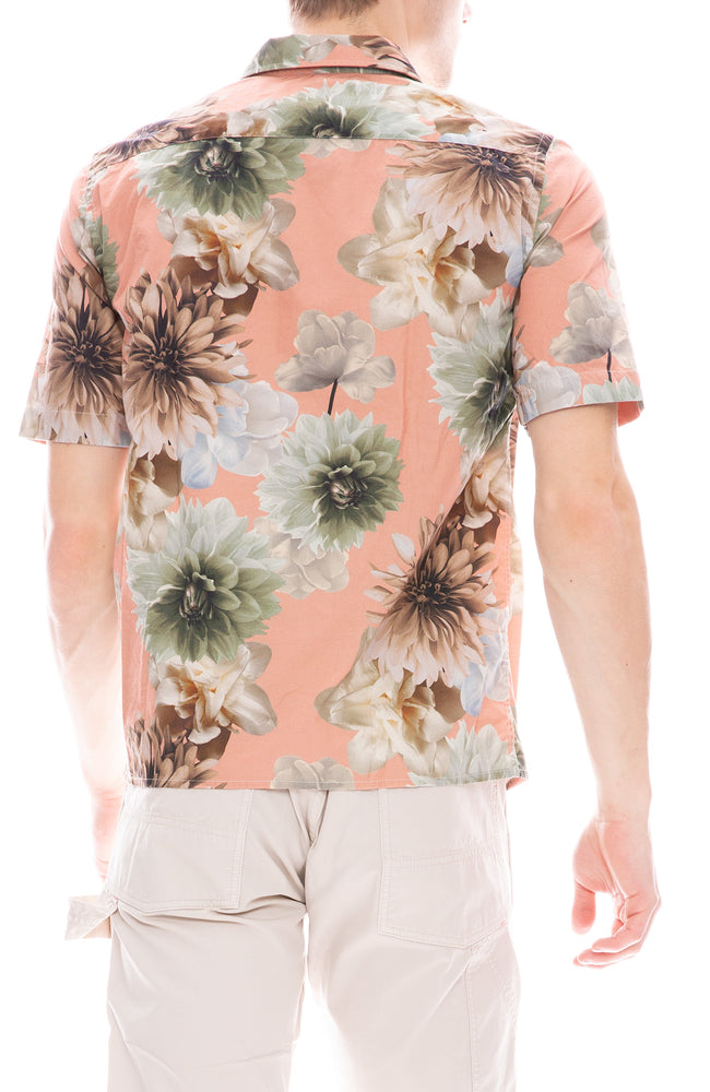 Presidents Rangi Poplin Floral Print Short Sleeve Button Down Shirt in Rose