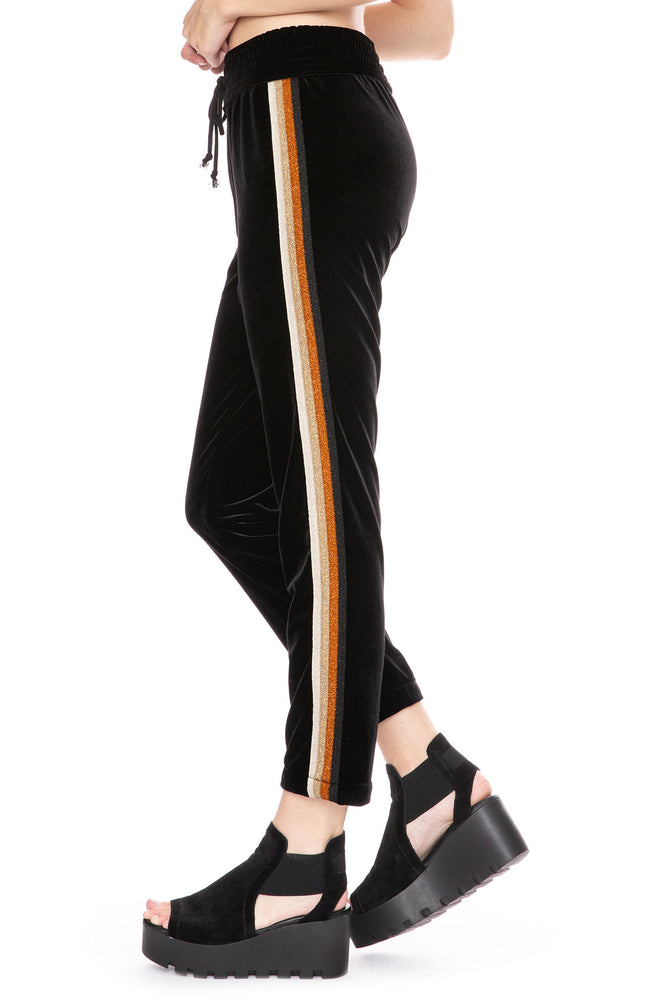 Mother Lounger Ankle Track Pant in Black Metallic at Ron Herman