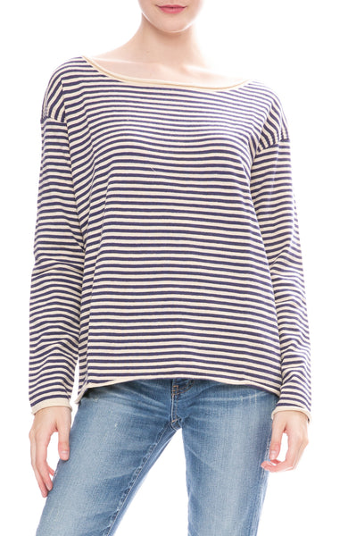 Alex Mill Womens Boatneck Sweater in Natural / Navy Stripes