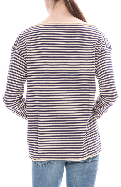 Alex Mill Womens Natural / Navy Striped Boatneck Sweater