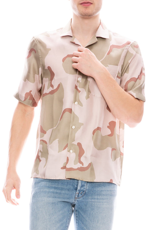 Presidents Rangi Silk Camouflage Print Short Sleeve Button Down Shirt
