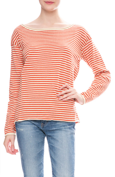 Alex Mill Womens Boatneck Sweater in Natural / Red Stripes