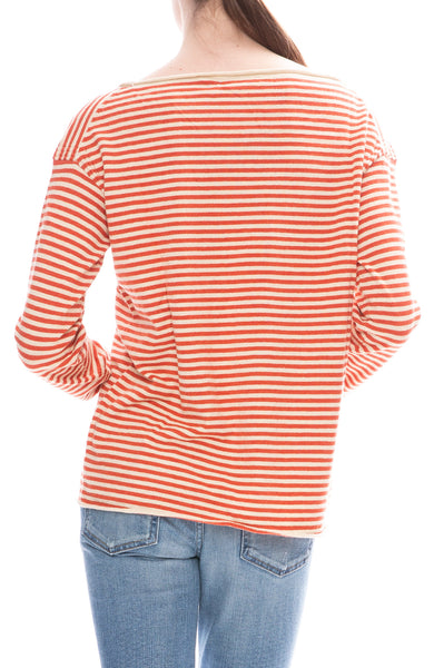 Alex Mill Womens Natural / Red Striped Boatneck Sweater