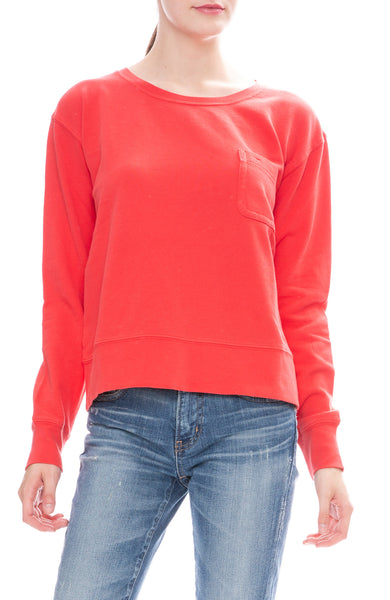 Alex Mill Womens Relaxed Fleece Pocket Sweatshirt in Tomato Red