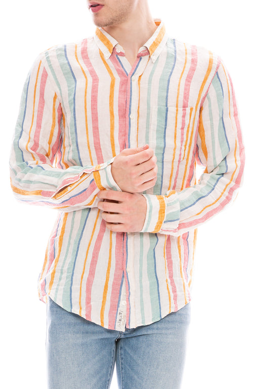 Presidents Multi Color Striped Linen Button Down Shirt