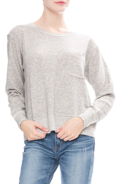 Alex Mill Womens Heather Grey Relaxed Fleece Pocket Sweatshirt