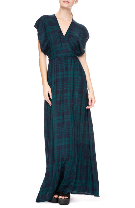 Garbo Wrap Dress in Green Plaid