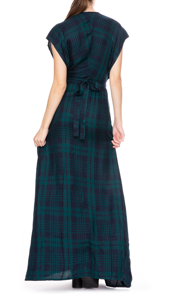 Tysa Garbo Wrap Dress in Green Plaid at Ron Herman
