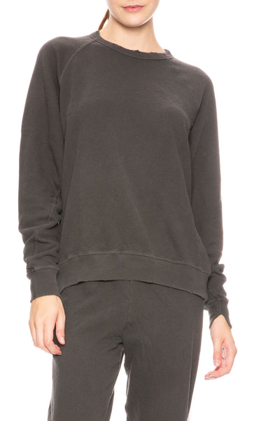 The Great College Sweatshirt in Washed Black at Ron Herman