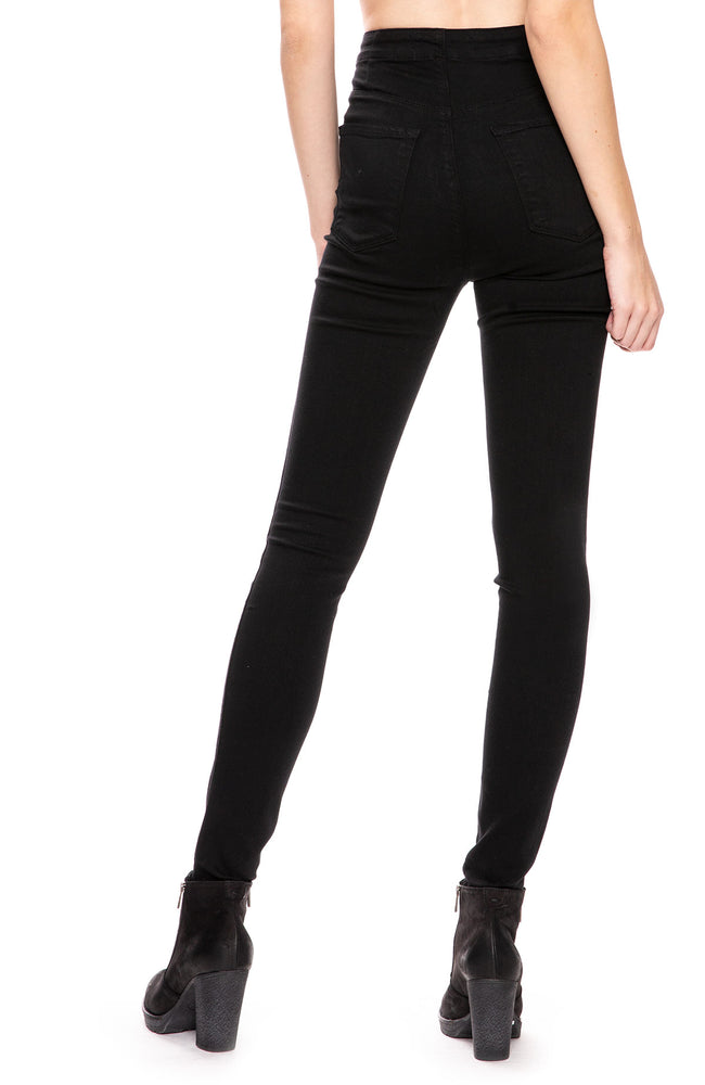 J Brand Natasha Sky-High Skinny Jean in Seriously Black at Ron Herman