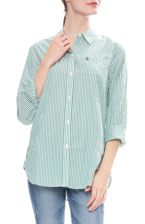 Alex Mill Womens Relaxed Portuguese Cotton Standard Button Down Shirt in Green Stripe