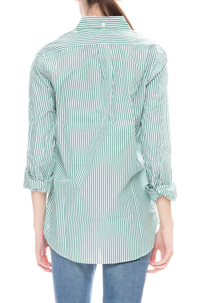 Alex Mill Womens Green Striped Relaxed Portuguese Cotton Standard Button Down Shirt