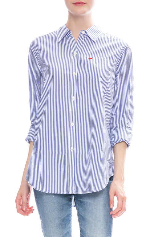Alex Mill Womens Royal Blue Striped Relaxed Portuguese Cotton Standard Button Down Shirt