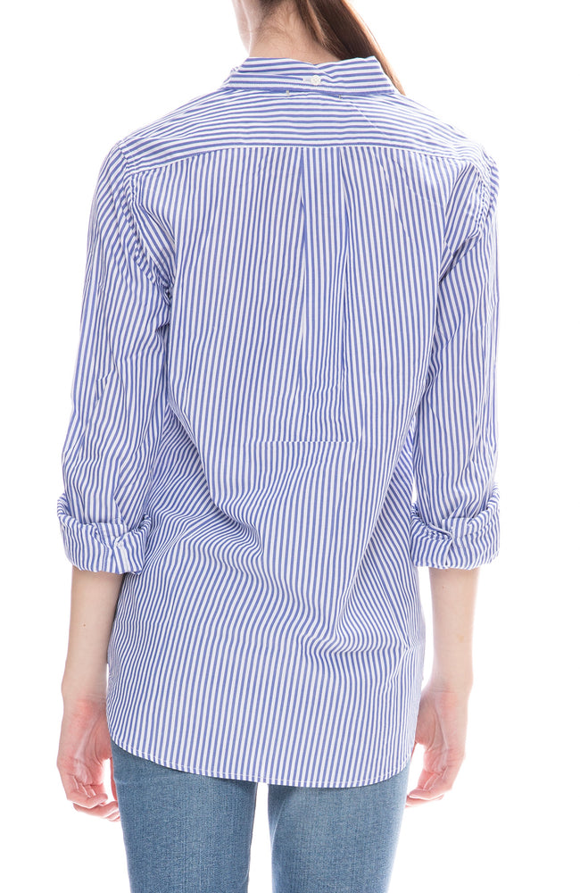 Alex Mill Womens Relaxed Portuguese Cotton Standard Button Down Shirt in Royal Blue Stripe