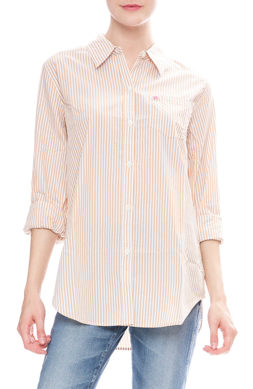 Alex Mill Womens Khaki Striped Relaxed Portuguese Cotton Standard Button Down Shirt
