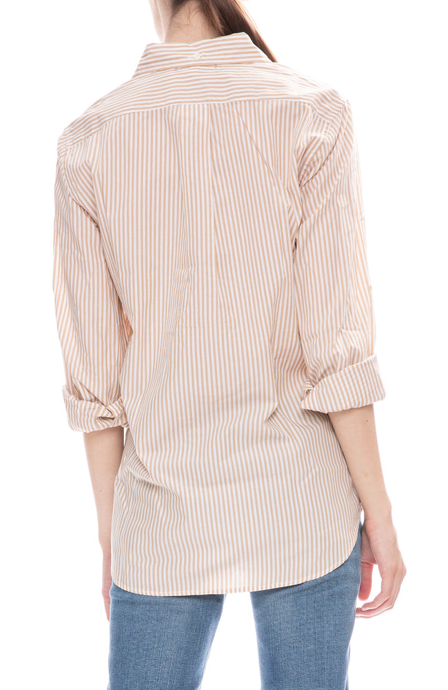 Alex Mill Womens Relaxed Portuguese Cotton Standard Button Down Shirt in Khaki Stripe