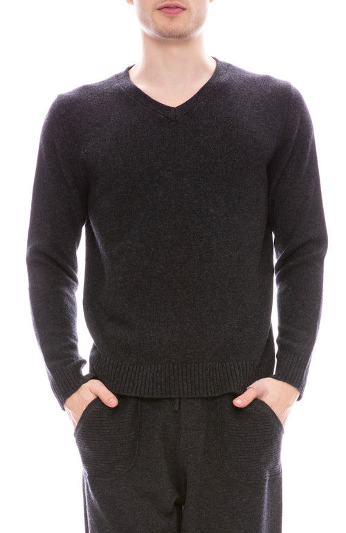 Ron Herman Exclusive V-Neck Cashmere Sweater in Asphalt Grey