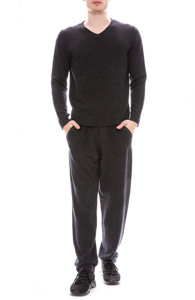 Ron Herman Exclusive 100% Pure Cashmere Sweatpants and V-Neck Sweater in Asphalt Grey