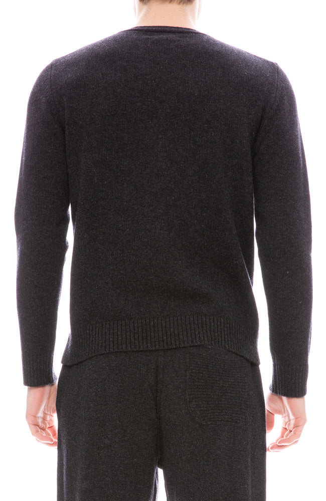 Ron Herman Exclusive V Neck Cashmere Sweater in Asphalt Grey
