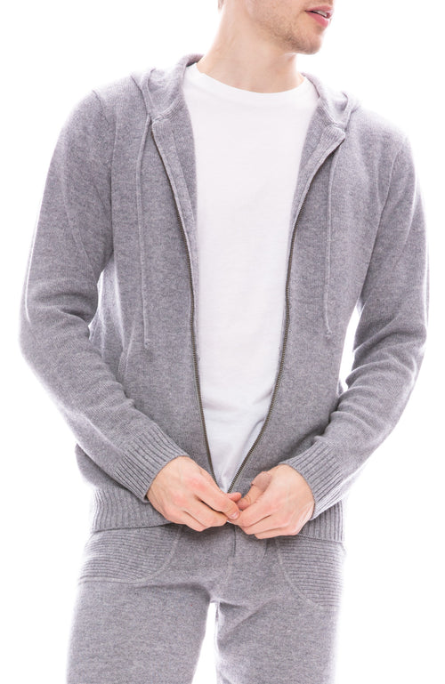 Ron Herman Exclusive Cashmere Zip Hoodie in Mineral Grey