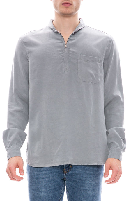Shawl Zip Silk Wash Shirt