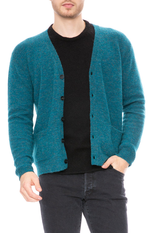 Roberto Collina Fake Shetland Cardigan in Teal at Ron Herman