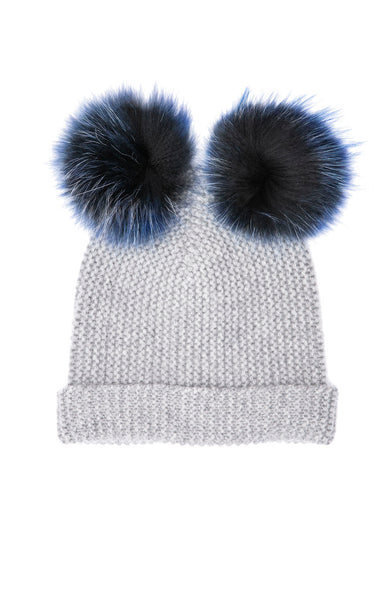 Autumn Cashmere Double Pom Pom Cashmere Beanie in Cement