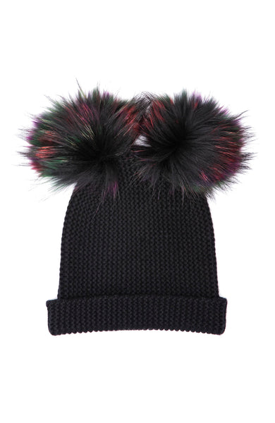 Autumn Cashmere Double Pom Pom Cashmere Beanie in Black