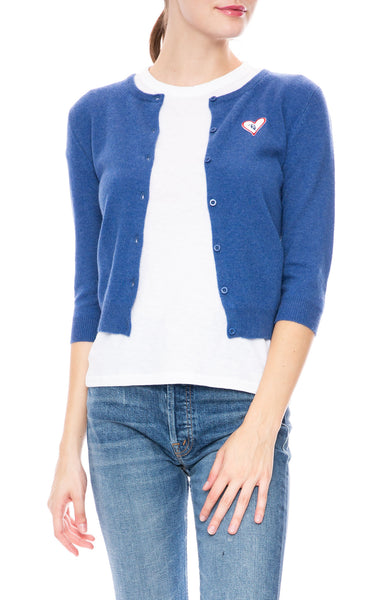 Ron Herman Exclusive Heart Patch Cashmere Baby Cardigan in Medieval Blue
