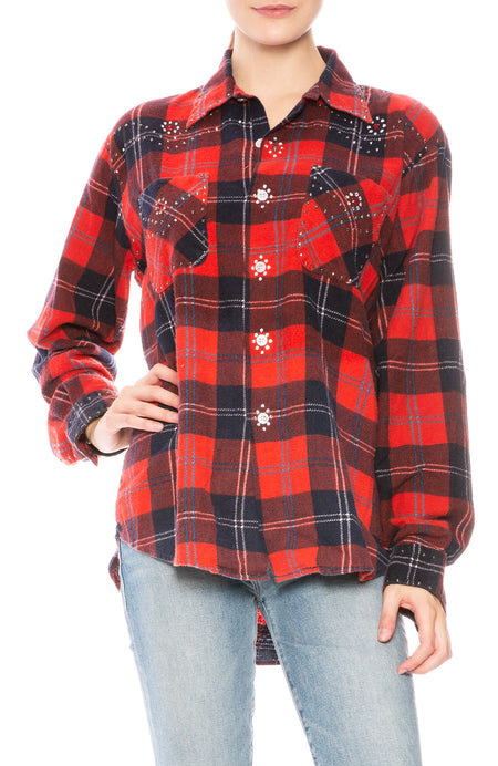 Embellished Plaid Shirt