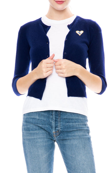 Ron Herman Exclusive Heart Patch Cashmere Baby Cardigan in Deep Water Blue