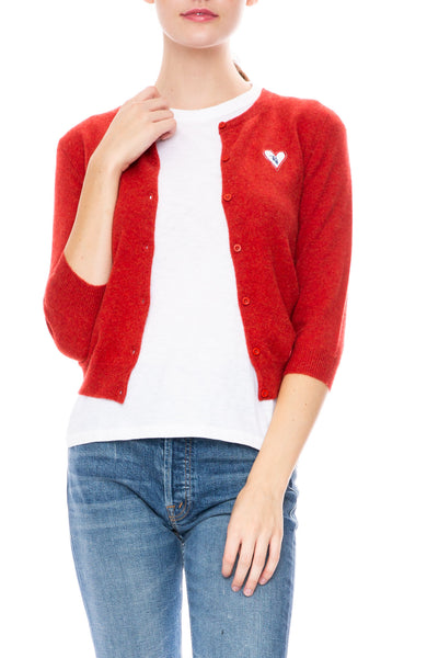 Ron Herman Exclusive Heart Patch Cashmere Baby Cardigan in Paprika