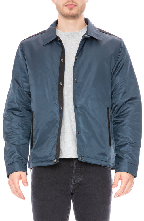 The Very Warm Grant Coach's Jacket in Blue Titanium with Lining Art by Gil Goren