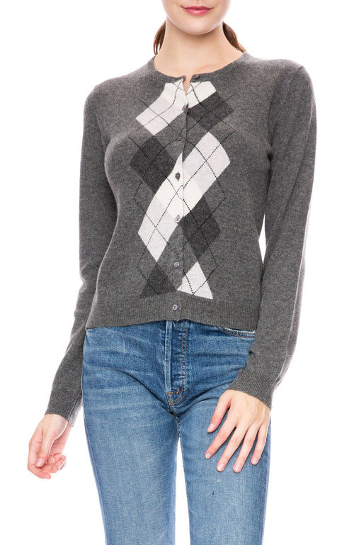 Ron Herman Exclusive Argyle Cashmere Cardigan in Charcoal
