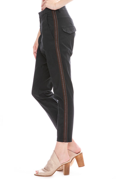 Nili Lotan Navy Paris Pants with Charcoal and Burgundy Side Tape