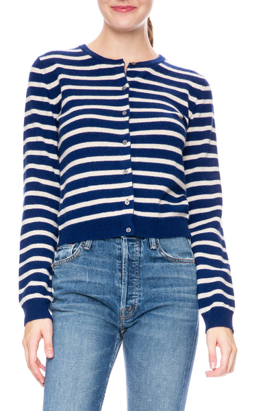 Ron Herman Exclusive Cashmere Cardigan in Navy/Champagne Stripe