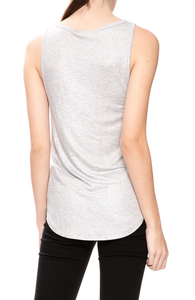 Majestic Filatures Soft Touch Metallic Scoop Tank in Silver Gris at Ron Herman
