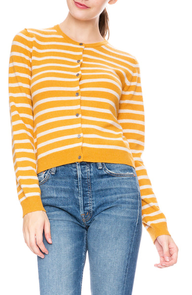 Ron Herman Exclusive Cashmere Cardigan in Gold/Champagne Stripe