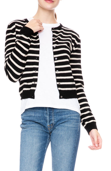 Ron Herman Exclusive Cashmere Cardigan in Black/Champagne Stripe