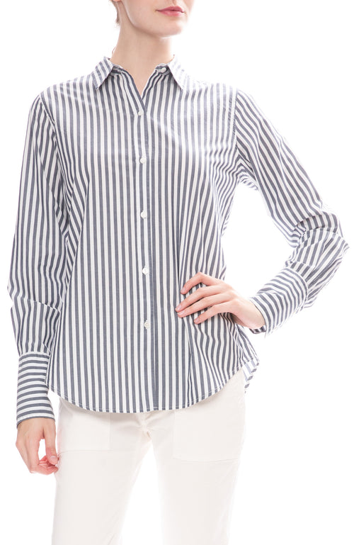 Nili Lotan Helen Dark Navy and White Striped Poplin Shirt