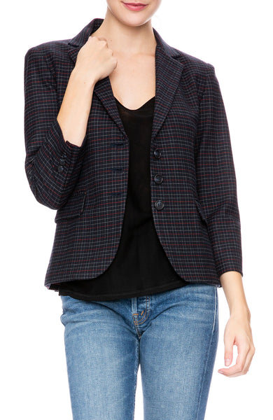 Ron Herman Exclusive Schoolboy Blazer in Navy Plaid