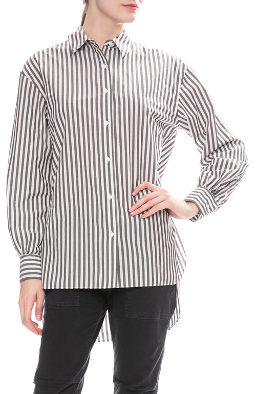 Nili Lotan Noa Black and White Striped Shirt