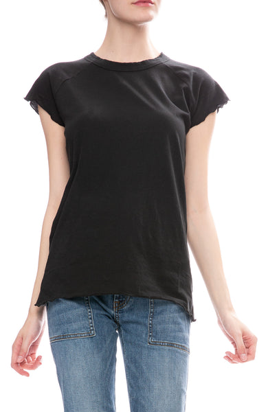 Nili Lotan Short Sleeve Baseball T-Shirt in Washed Black