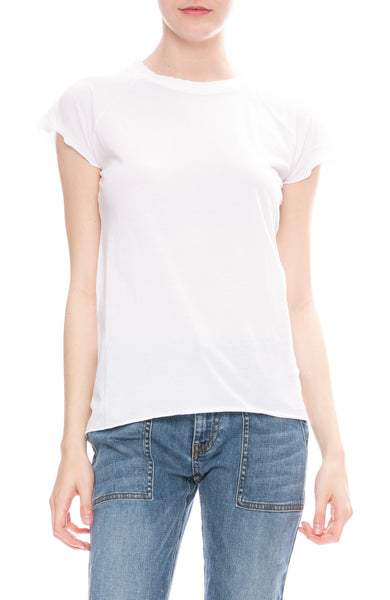 Nili Lotan Short Sleeve Baseball T-Shirt in White