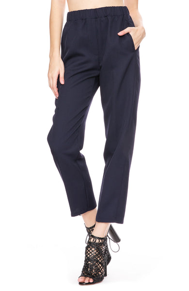 Forte Forte Wool Diagonal Pants in Notte (Navy) at Ron Herman
