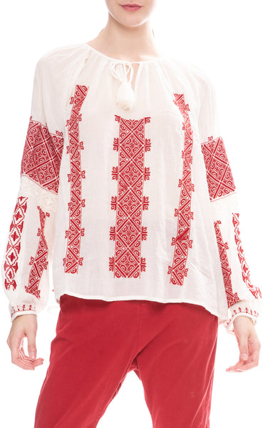 Nili Lotan Ivory Alassio Top with Red Embroidery