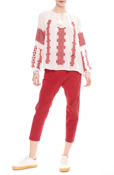 Nili Lotan Paris Poplin Pants in Sunkissed Red with Alassio Embroidered Blouse