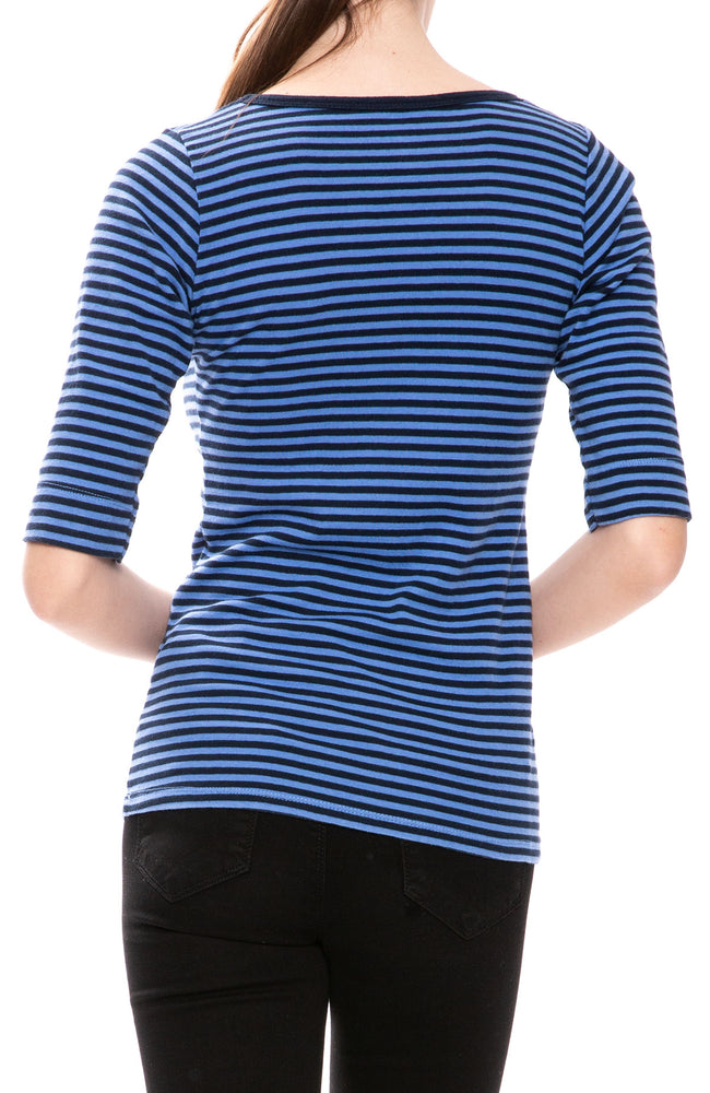 Christina Lehr Sailor Stripe T-Shirt in Baltic Blue at Ron Herman
